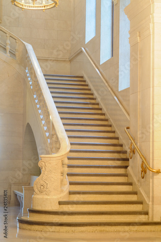 Grand staircase in an old public building
