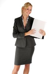Atractive blonde businesswoman in black two-piece suit
