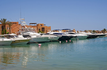 Private motor boats moored in a marina