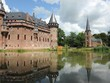 Castle de haar in Holland, with clouds and reflections