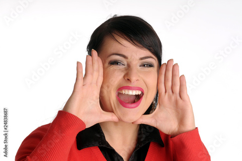 Atractive brunette woman in red sweater