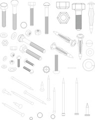 illustration of nails, bolts and nuts