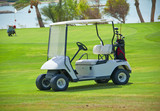 Golf buggy on a fairway poster