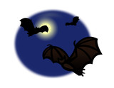 Bats flying around the full moon