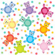 seamless with colored teddy bears