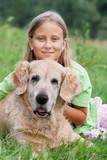 Little girl and her beloved dog poster