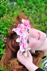 girl with orchid in hair