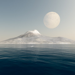 Full Moon over Mountain Sea