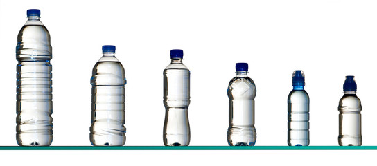 different water bottles