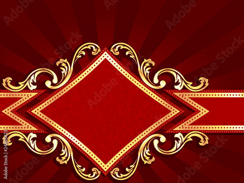 Horizontal diamond-shaped red banner with gold filigree