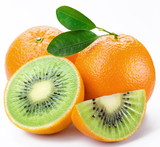 Fototapety Flesh kiwi cut ripe orange. Product of genetic engineering. Comp