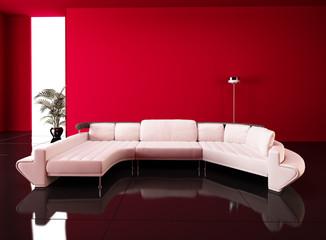 divano con parete rossa