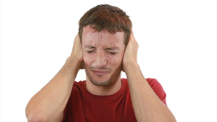Guy is shutting his ears