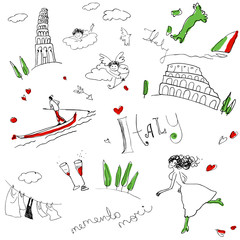 Memories of Italy (seamless set of doodles).