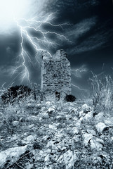old tower under the storm