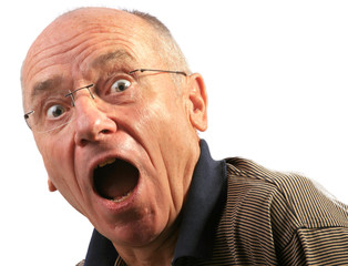 Senior erstaunt - Mund offen