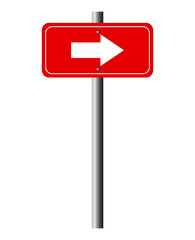 Red direction arrow sign vector
