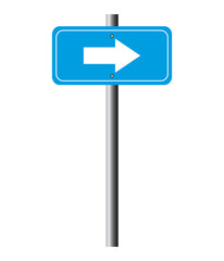 Blue direction arrow sign vector