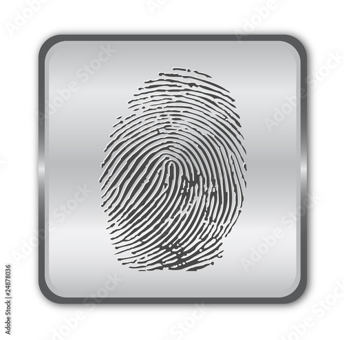 Chrome fingerprint button vector
