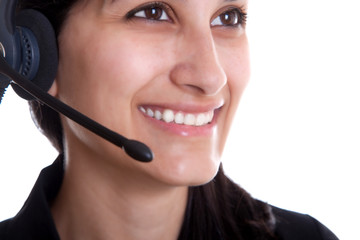 Woman laugh at call center