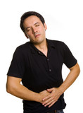 A man suffering from stomach pain, isolated on white