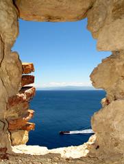 A window on the sea from Fortress of San Nicola Island (Tremiti)