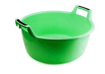 Green plastic washing bowl