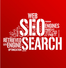 Search Engine Optimization on Red Background