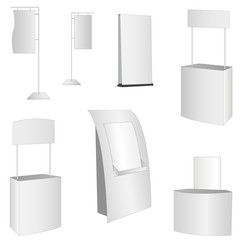 set of 7 white display. vector illustration