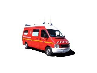 Véhicule de pompiers secours et assistance aux victimes