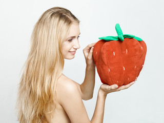 girl with strawberries in the hands