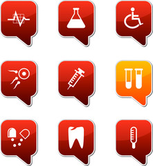 Medical  square speech icons.
