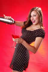 Cute polka dot and cosmopolitan martini cocktail