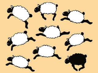Nine Individual Frolicking Sheep