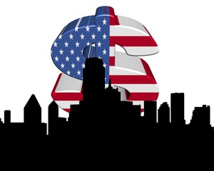 Dallas skyline with American flag dollar symbol illustration
