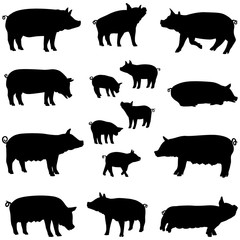 porc truie et porcelet silhouette pack
