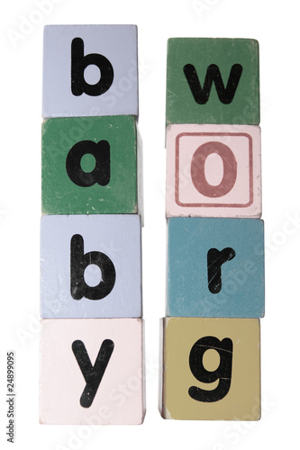 baby grow in toy play block letters with clipping path on white