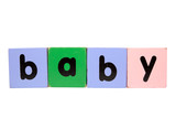 baby in toy play block letters with clipping path