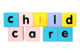 childcare  in toy play block letters with clipping path