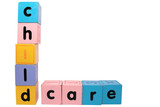 childcare in toy play block letters with clipping path on white poster