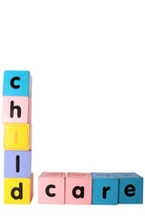 childcare spelt in toy play block letters with clipping path