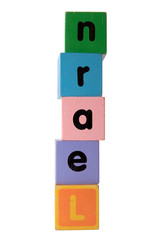 learn in toy play block letters with clipping path on white