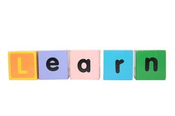 learn spelt in toy play block letters with clipping path