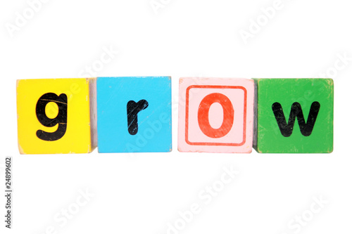 grow in toy play block letters with clipping path on white