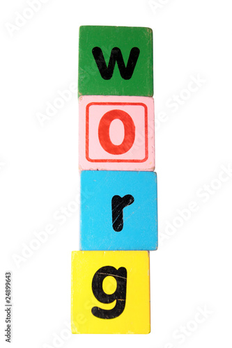 grow in toy play block letters with clipping path