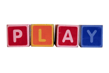 play spelt in toy play block letters with clipping path