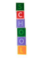 school in toy play block letters with clipping path on white