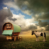 Un vechi Gypsy Caravan, Trailer, Wagon cu un cal