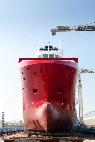 large offshore vessel on dry dock before launching