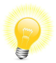 Vector illustration of light bulb with beams